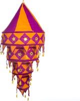 Smile2u Retailers Rajasthani Embroidered Fabric Purple, Orange Cotton Lantern (90 Cm X 45 Cm, Pack Of 1)