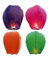 Skycandle Oval Multicolor Paper Sky Lantern (80 Cm X 45 Cm, Pack Of 4)