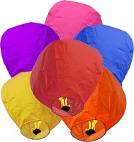 LAMPS OF INDIA Multicolor Paper Sky Lantern (85 Cm X 45 Cm, Pack Of 25)