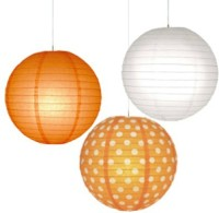 Christmastreeshops.in Paper Lantern (Orange, White, Pack Of 3)
