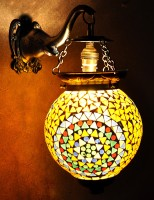 Lal Haveli Handmade Polka Dots Wall Lamps Home Décor Multicolor Glass Lantern (33 Cm X 22.86 Cm, Pack Of 1)