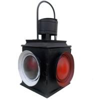 Indune Lifestyle Railway Signal Lamp Black Iron, Glass Lantern (53 Cm X 30 Cm, Pack Of 1)