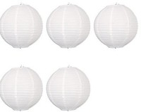CELEBRATIONIDEAS 10'''WHITE ROUND PAPER White Paper Lantern (24 Cm X 24 Cm, Pack Of 5)