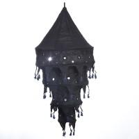 Smile2u Retailers Rajasthani Embroidered Fabric Black Cotton Lantern (90 Cm X 45 Cm, Pack Of 1)