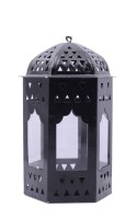 Decorate India Black Iron, Glass Lantern (16 Cm X 10 Cm, Pack Of 1)