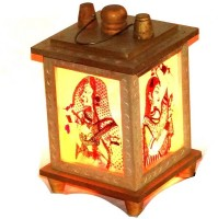 Kalaplanet Bani Thani Lamp Multicolor Wooden Lantern (16 Cm X 13 Cm, Pack Of 1)