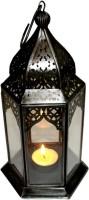 The Royal Collection Diwali Iron Lantern Black Iron, Glass Lantern (26.25 Cm X 14 Cm, Pack Of 1)