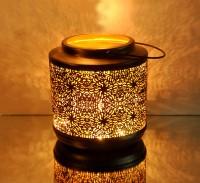 Logam Rio Rustic Black With Gold Texture Multicolor Iron Lantern (23 Cm X 23 Cm, Pack Of 1)