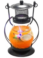 Premk Laltan Candle & Fragrances With Light Orange Glass Lantern (12 Cm X 5 Cm, Pack Of 1)