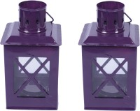 Sutra Décor Tealight Hut Candle Holder Set Of 2 Purple Iron Lantern (21.25 Cm X 8.125 Cm, Pack Of 2)
