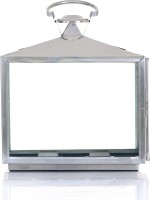 Ninety One Degree Big Square Handle Steel Stainless Steel Lantern (38 Cm X 17 Cm)