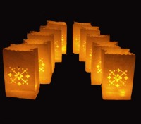 Uniqueitems.In Led Wax Candle Holder White Paper Lantern (29 Cm X 15 Cm, Pack Of 10)