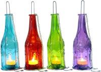 SwipeNext Illuminati Bottle Lanterns Multicolor Cast Iron, Glass Lantern (28 Cm X 8 Cm, Pack Of 4)