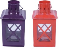 Sutra Décor Red And Purple Tealight Hut Candle Holder Multicolor Iron Lantern (21.25 Cm X 8.125 Cm, Pack Of 2)