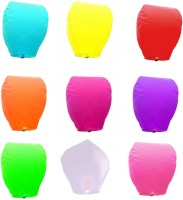 LAMPS OF INDIA Multicolor Paper Sky Lantern (85 Cm X 45 Cm, Pack Of 50)