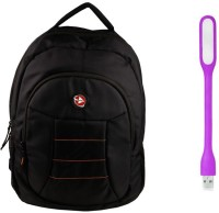 QP360 Laptop Bag And Led Light Combo Set (Black, Purple)