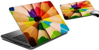 MeSleep Color Pencils Laptop Skin And Mouse Pad 44 Combo Set (Multicolor)