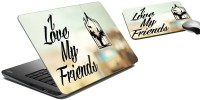 MeSleep Friends Laptop Skin And Mouse Pad 42 Combo Set (Multicolor)