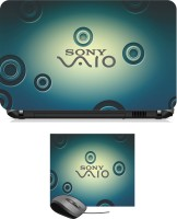 Print Shapes Sony Vaio Laptop Skin With Leather Mouse Pad Combo Set (Multicolor)
