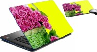 MeSleep Pink Rose Laptop Skin And Mouse Pad 323 Combo Set (Multicolor)