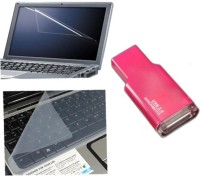 QP360 Laptop Screen Guard&Keyboard Skin 15.1inch,Card Reader Combo Set (Transparent, Pink)