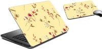 MeSleep Floral Laptop Skin And Mouse Pad 100 Combo Set (Multicolor)