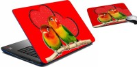 MeSleep Love Bird Laptop Skin And Mouse Pad 324 Combo Set (Multicolor)