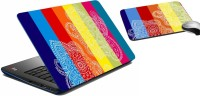 MeSleep Bright Paisley Multicolor Laptop Skin 244 Combo Set (Multicolor)