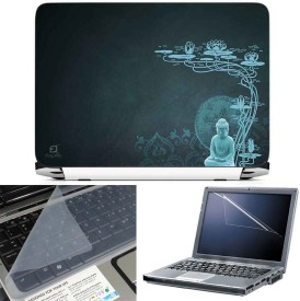 FineArts Buddha Blue Back 3 in 1 Laptop Skin Pack With Screen Guard & Key Protector Combo Set