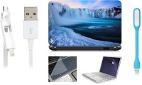 Print Shapes Frozen Waterfall On Iceland LAPTOP SKIN WITH SCREEN PROTECTOR , KEY GUARD,USB LED AND USB CHARGING DATA CABLE Combo Set (Multi Color)