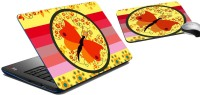 MeSleep Stripe Butterfly Laptop Skin And Mouse Pad 174 Combo Set (Multicolor)