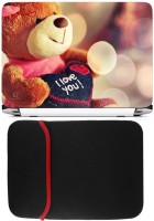 FineArts I Love You Teddy Laptop Skin With Reversible Laptop Sleeve Combo Set (Multicolor)