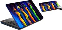 MeSleep Four Ladies Laptop Skin And Mouse Pad 291 Combo Set (Multicolor)