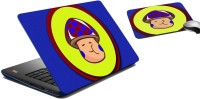 MeSleep Shy Face Boy Laptop Skin And Mouse Pad 113 Combo Set (Multicolor)