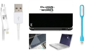 Print Shapes Design Is How It Works Laptop Skin With Screen Protector , Key Guard,Usb Led And Usb Charging Data Cable Combo Set
