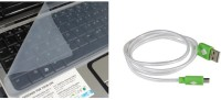 QP360 Keyboard Skin 14inch-USB Charge And Sync Cable For Smart Phone Combo Set (Transparent, Green)