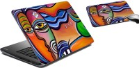 MeSleep Face Laptop Skin And Mouse Pad 63 Combo Set (Multicolor)