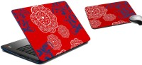 MeSleep Red Ethinic Laptop Skin And Mouse Pad 179 Combo Set (Multicolor)