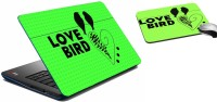 MeSleep Love Bird Laptop Skin And Mouse Pad 309 Combo Set (Multicolor)