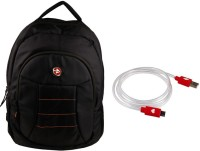 QP360 Laptop Bag And USB Charge And Sync Cable For Smart Phone Combo Set (Black, Red)