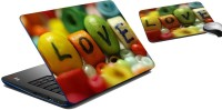 MeSleep Love Laptop Skin And Mouse Pad 375 Combo Set (Multicolor)