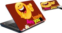 MeSleep Are You Lonely Laptop Skin And Mouse Pad 300 Combo Set (Multicolor)