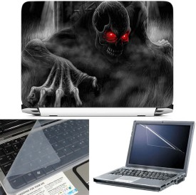 FineArts Black Ghost Red Eye 3 in 1 Laptop Skin Pack With Screen Guard & Key Protector Combo Set