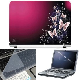 FineArts Purple Butterfly 3 in 1 Laptop Skin Pack With Screen Guard & Key Protector Combo Set