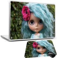 PRINT SHAPES Doll With REd Rose Laptop Skin With Mouse Pad Combo Set (Multicolor)