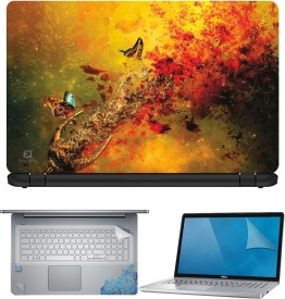 FineArts Butterfly Glass Art 4 in 1 Laptop Skin Pack with Screen Guard, Key Protector and Palmrest Skin Combo Set