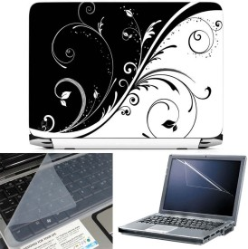 FineArts Abstract Floral 3 in 1 Laptop Skin Pack With Screen Guard & Key Protector Combo Set