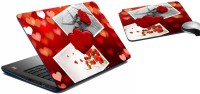 MeSleep Heart & Rose Laptop Skin And Mouse Pad 357 Combo Set (Multicolor)