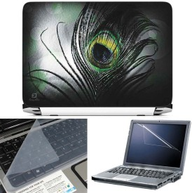 FineArts Black Feather 3 in 1 Laptop Skin Pack With Screen Guard & Key Protector Combo Set