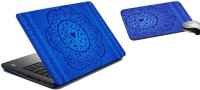 MeSleep Blue Floral Laptop Skin And Mouse Pad 178 Combo Set (Multicolor)